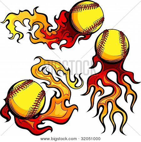 Flaming Softballs With Flames Vector Images