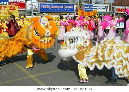 FLUSHING, NY - FEB 12: Dragon dancers perform at a Chinese New Year Parade on February 12, 2005 in the Flushing neighborhood of New York City.
