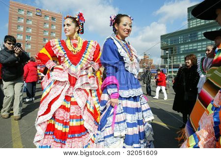 FLUSHING, NY - FEB 12: Mexican dancers prepare to participate in the Chinese New Year Parade on February 12, 2005 in the Flushing neighborhood of New York City.