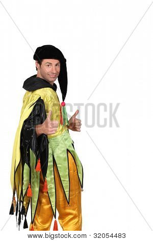 Jester with thumbs up