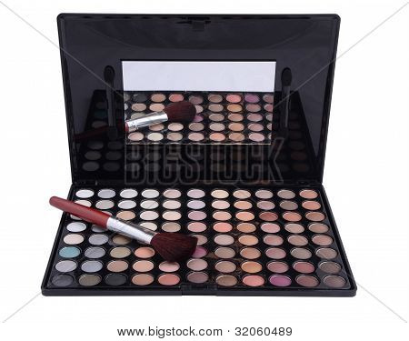 Eyeshadows With Brush Isolated On White Background