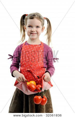 Girl With Tomatoes And Paprika