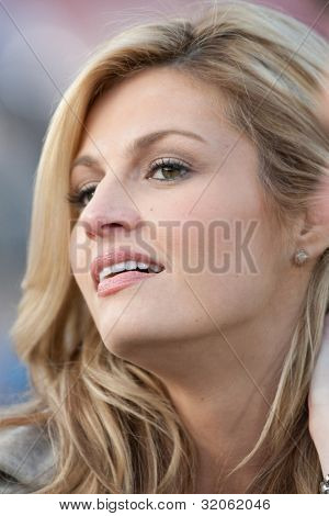 PASADENA, CA. - JAN 1: ESPN reporter Erin Andrews during the 2011 Rose Bowl game on Jan 1 2011 at The Rose Bowl in Pasedena, CA.