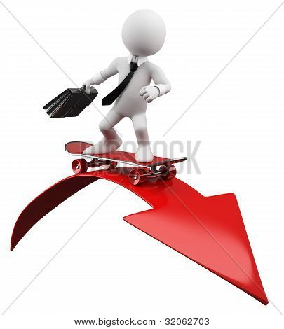 3D Businessman - Red Arrow