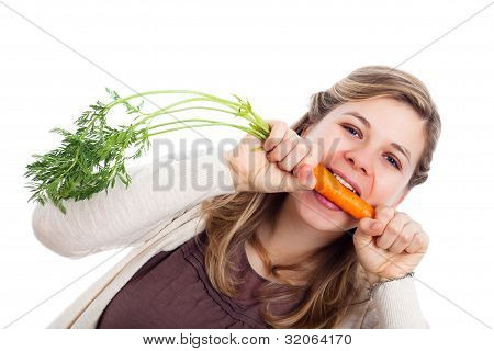 Woman Biting Carrot