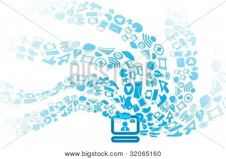 Modern social media icons flows to computer