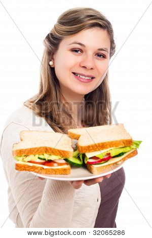 Happy Woman With Sandwiches