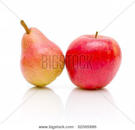 Pear And Apple On A White Background Close-up