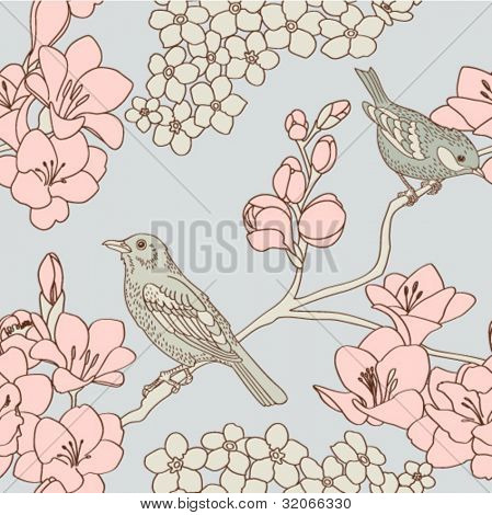 retro seamless pattern with flowers and birds