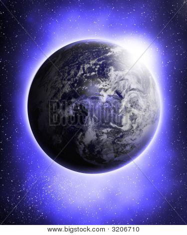 Glowing Blue Earth
