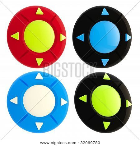 Set of four joystick buttons isolated