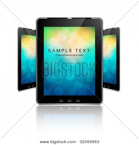 vector - black tablet pads with a white screen on colorful bokeh and a reflection on a white background.