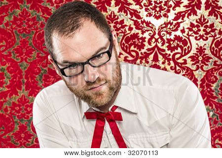 Bearded Man Wearing Black Glasses, White Shirt, Texas Tie