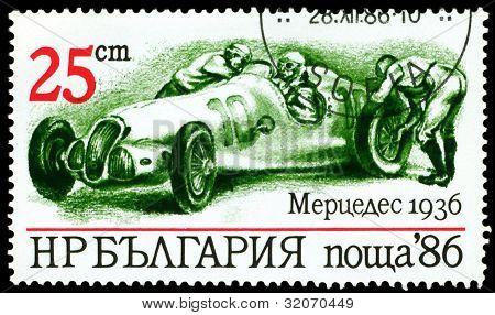 Vintage Postage Stamp. Sport Car Mercedes 1936.