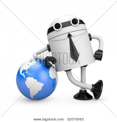 Robot with globe. Image contain clipping path