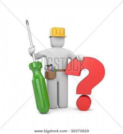 3d worker with screwdriver and question. Image contain clipping path