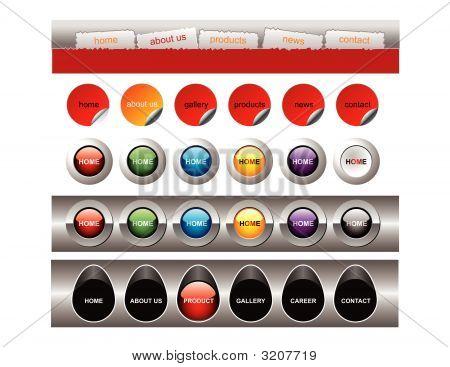 Weiße Menu Buttons Vorlagen