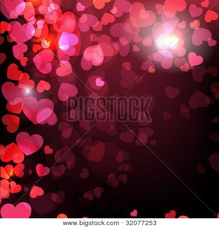 Abstract background with shiny heart shapes on dark color background. EPS 10, vector illustration, can be use as greeting, gift card, flyer, banner or poster.