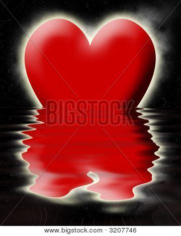 Red Heart Sinking In The Ocean