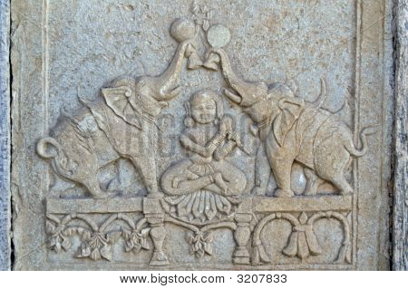 Delicate Carving Of Elephants And A Lady