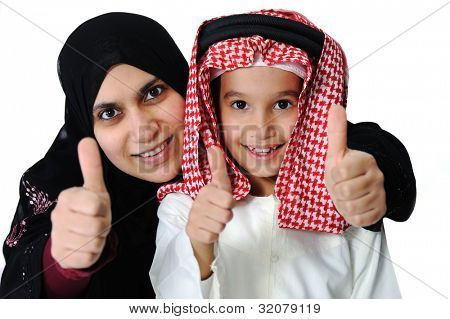 Arabic Muslim mother and son with thumb up