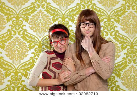 Funny humor silly nerd couple on retro vintage wallpaper background