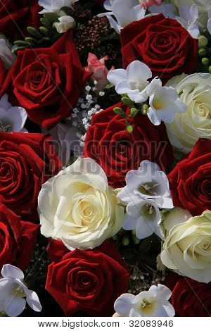 Red And White Mixed Flower Arrangement