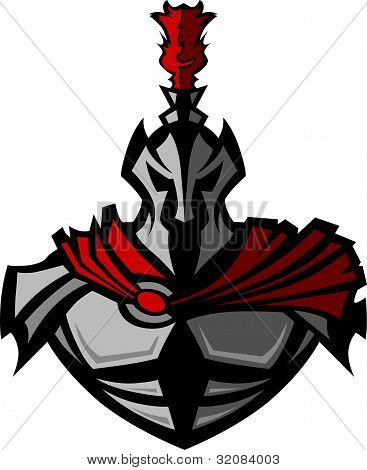Medieval Warrior with Helmet Vector Mascot