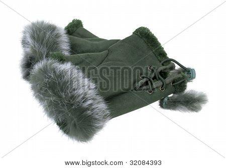 Fur-trimmed Fingerless Gloves