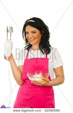 Happy Chef Woman Showing Mixer