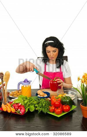 Woman Cutting Red Pepper