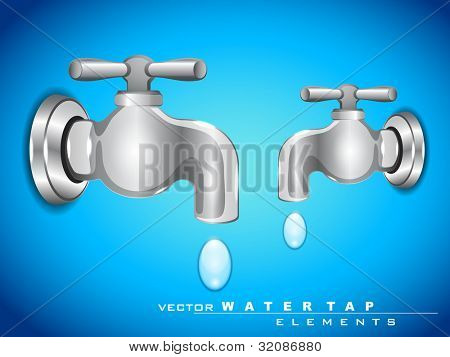 Save water concept. Vector steel water tap with falling water drop. EPS 10. Vector illustration.