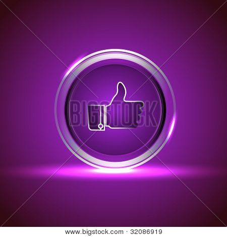 Glossy isolated website and internet web 2.0 icon with like button in purple color. EPS 10.
