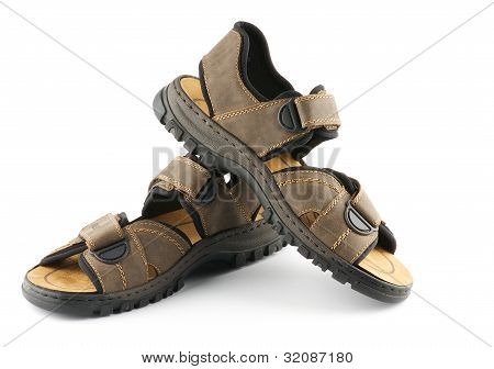Brown Man's Shoes Sandals With Velcro Fastener