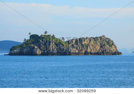 this rock island is the place  of swallow bird  breeding can see a hut of birds nest keeper on the c
