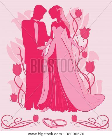 Ornate Bride  and Groom Silhouette