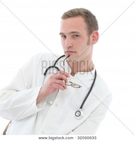 Serious Young Doctor In Deep Thought