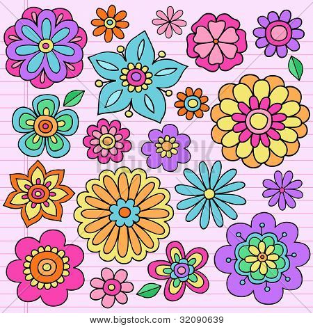 Flower Power Groovy Psychedelic Hand Drawn Notebook Doodle Design Elements Set on Lined Sketchbook Paper Background- Vector Illustration