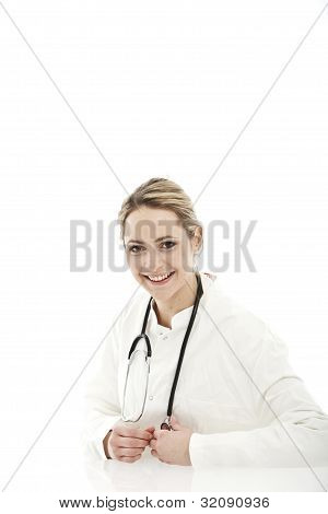 Female Doctor On White Background