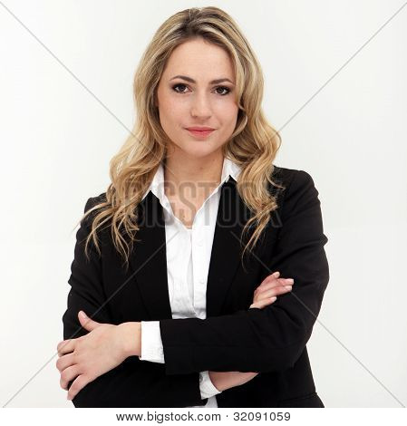 Attractive Business Woman In Black Suit