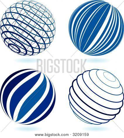 Four Blue Globes