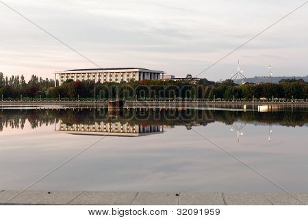National Library and Parliament House at Dawn