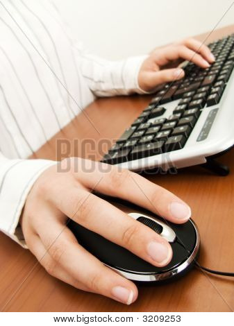 Businesswoman Typing In The Computer Keyboard