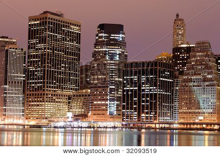 Lower Manhattan At Night, New York City