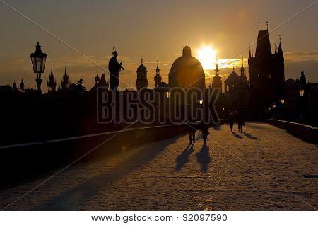Charles Bridge at dawn, Prague, Czech Republic