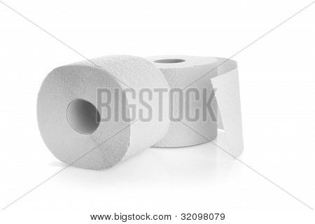 Rolls Of Toilet Paper Isolated Over A White Background