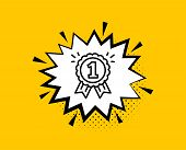 Reward Medal Line Icon. Comic Speech Bubble. Winner Achievement Or Award Symbol. Glory Or Honor Sign poster