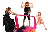stock photo of toddlers tiaras  - Two beautiful angry spoiled pageant girls fighting over fabric for dress design over white - JPG