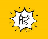 Chemistry Lab Line Icon. Comic Speech Bubble. Laboratory Flask Sign. Analysis Symbol. Yellow Backgro poster