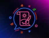 Creative Painting Brush Line Icon. Neon Laser Lights. Creativity Sign. Graphic Art Symbol. Glow Lase poster